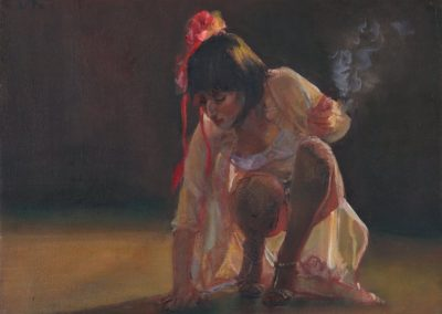 Acariciando el parquet, Oil on canvas, 2010, 40x50